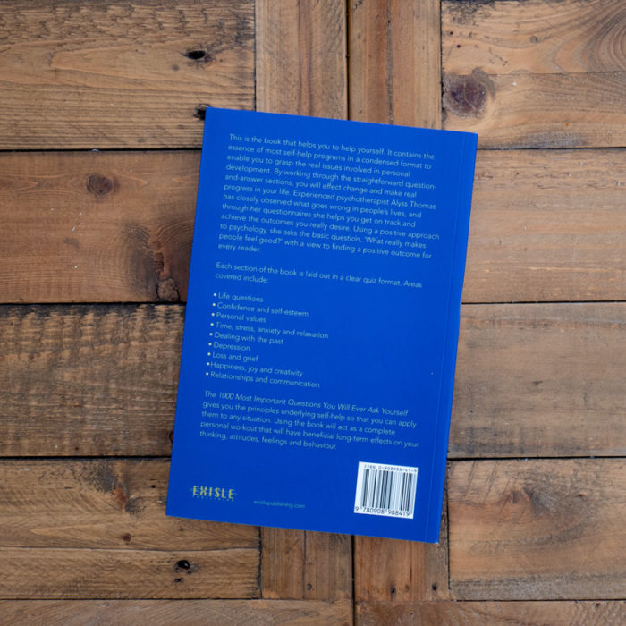 Alyss Thomas 1000 Questions Book Self Help Rear